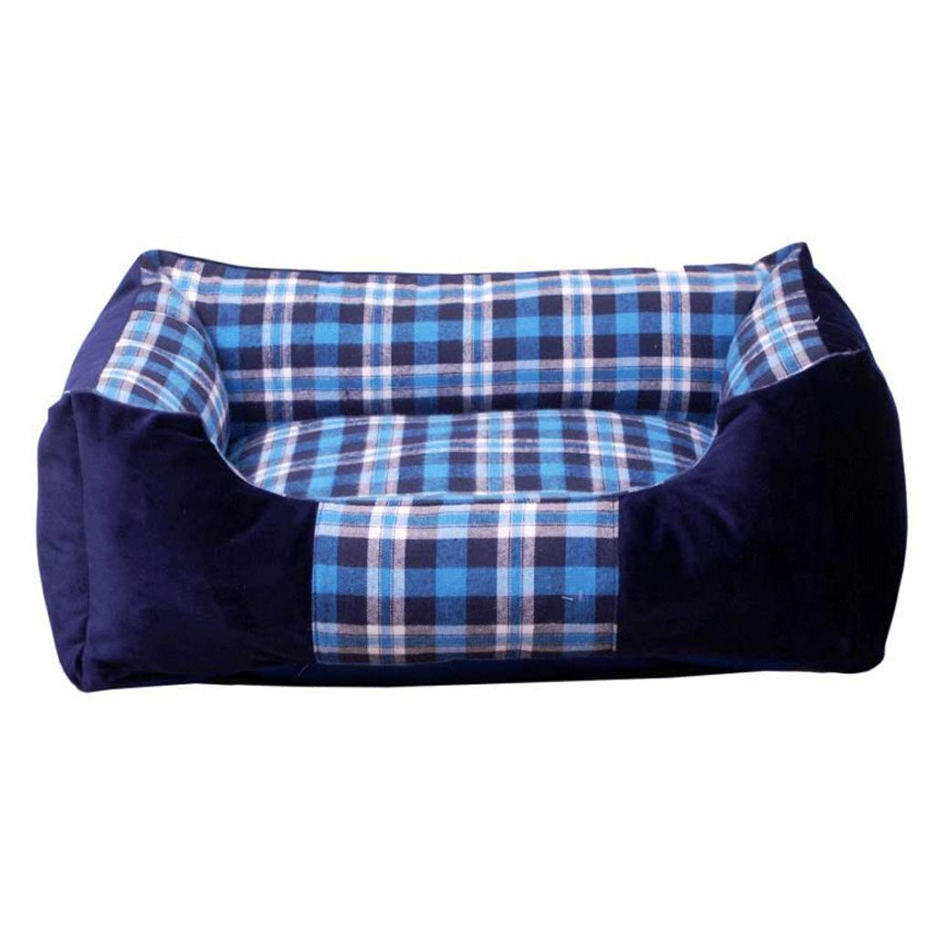 bluee S (43X28X18CM) bluee S (43X28X18CM) Pet Bed Square Plaid Thickening Warm and Resistant to Tear Bite Removable and Washable golden Retriever Dog Pad Warm Pet Nest A+ (color   bluee, Size   S (43X28X18CM))