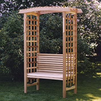Amazoncom All Things Cedar Garden Arbor with Bench Patio