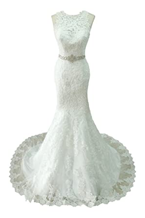 Topdress Women\'s Lace Mermaid Wedding Dresses Beaded Bridal Gowns at ...