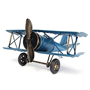Large 8.5'' Hang Retro Airplane Aircraft Model,Home Decor Ornament Toy,Home Office Desktop Decoration, Retro World War I German Wings Model,ww1 Aircraft Model (Blue)
