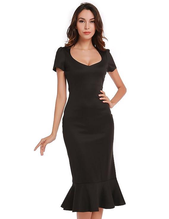 Blooming Jelly Diseño Vintage 50s de La Mujer Fishtail Vestido Negro: Amazon.es: Ropa y accesorios
