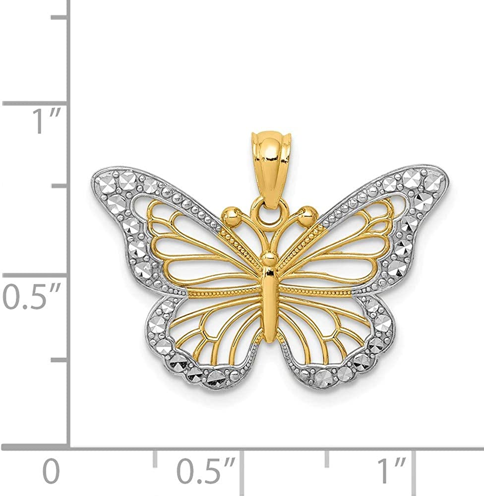 Mia Diamonds 14k Yellow Gold Polished Open Rose Pendant