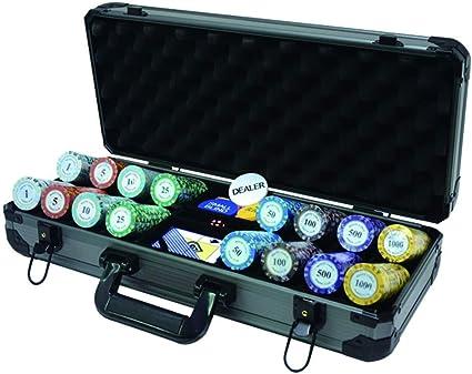 Fichas de póker, estuche de aluminio grueso, 400 piezas de 14 gramos de monedas de chip de entretenimiento Clay, aptas para Mahjong / póker / juegos de fiesta (43 mm × 3