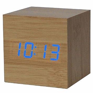 Reloj digital - SODIAL(R) Reloj despertador / reloj de mesa digital de madera con puerto USB, funciona con baterias AAA - color de madera / azul: Amazon.es: ...