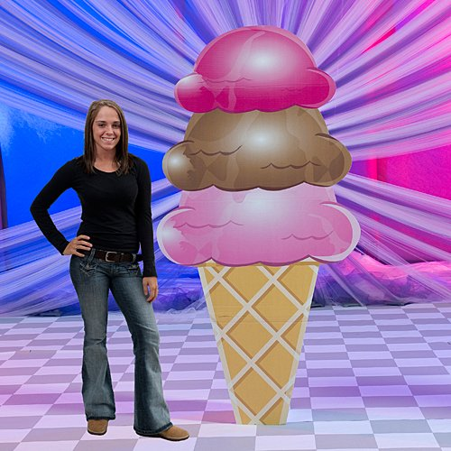- 7 ft. 4 in. 3 Scoop Ice Cream Cone Standee Standup Photo Booth Prop Background Backdrop Party Decoration Decor Scene Setter Cardboard Cutout