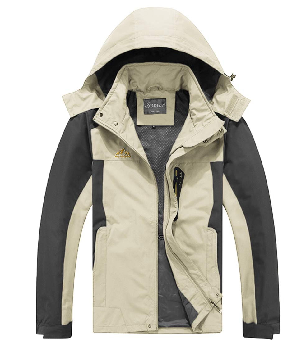 Spmor Men's Outdoor Sports Hooded Windproof Jacket Waterproof Rain Coat Khaki Medium by Spmor