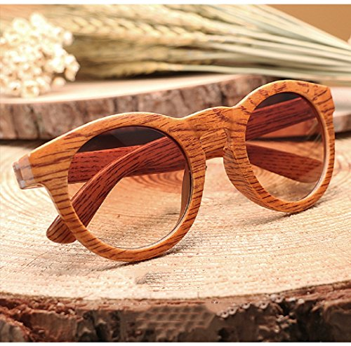YABINA Polarized Lightweight Plastic Bamboo Veins Wooden Vintage Sunglasses Mens Womens - Plastic Pilot Man