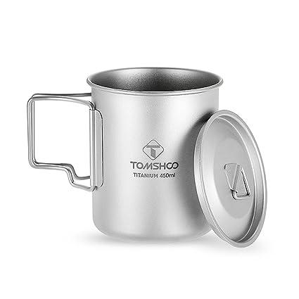 TOMSHOO Taza de Titanio 450ml con Tapa y Manija Plegable Ultra Ligero y Portátil Ideal para
