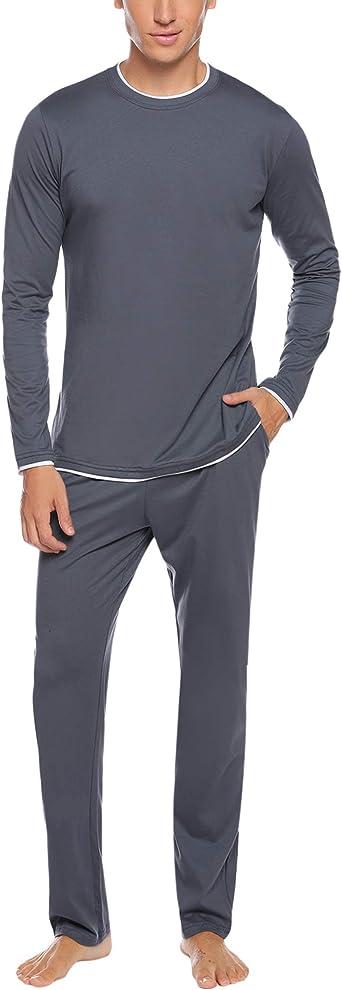 Hawiton Schlafanzug Herren Lang Pyjama Set Kariert Zweiteiliger aus Baumwolle Nachtw/äsche Set mit Freizeithose und Schlafanzugoberteile