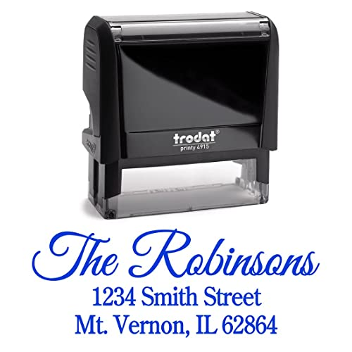 blue ink custom personalized self inking return address stamp perfect family business