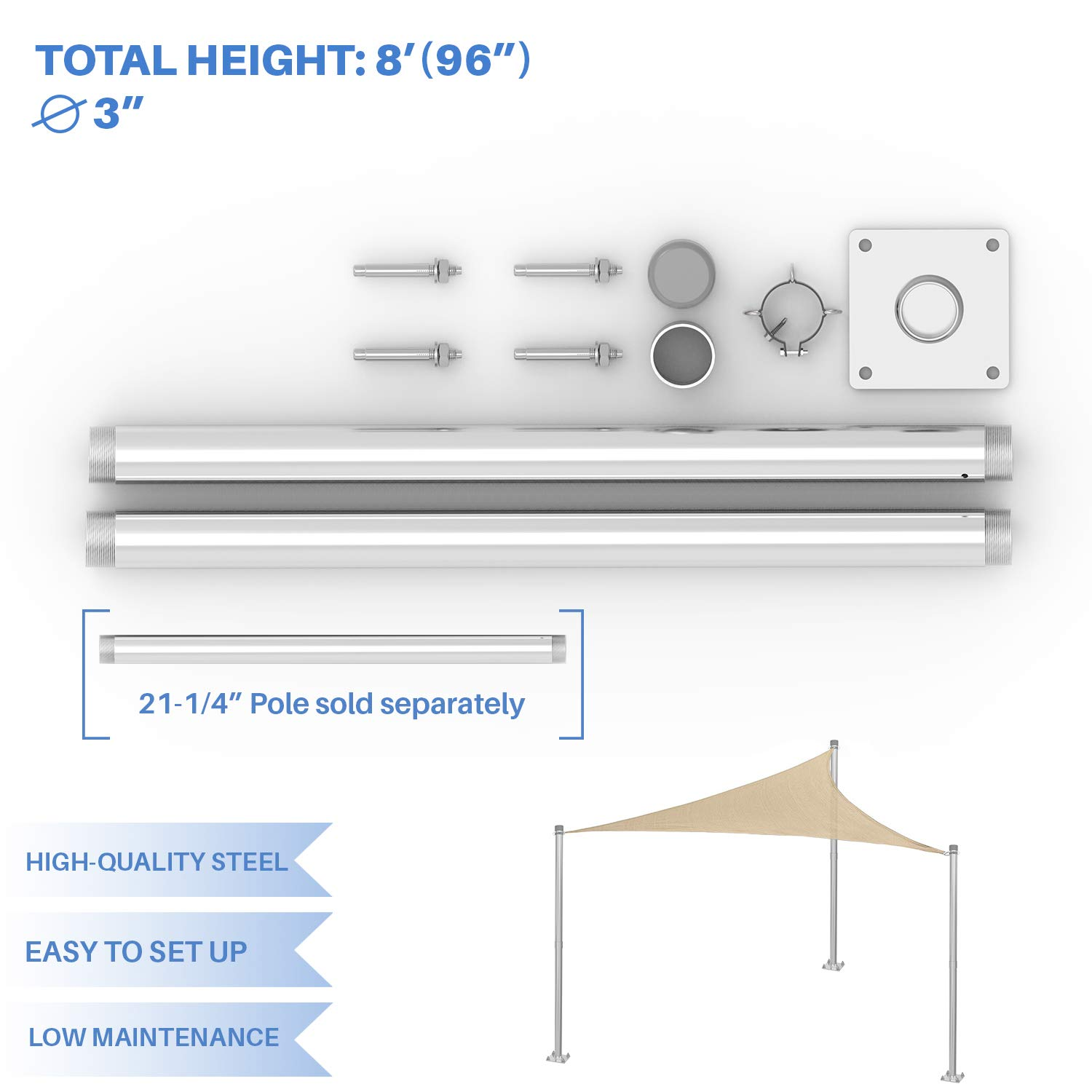 E&K Sunrise Sun Shade Sail Pole Stand Post Heavy Duty Awning Canopy Support Poles Fence Post Galvanized Steel Metal Pole 8' Feet Tall (96'')