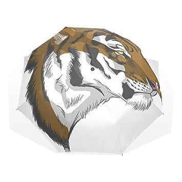 wdysecret marrón el tigre plegable paraguas resistente al viento Nano gamuza de paraguas