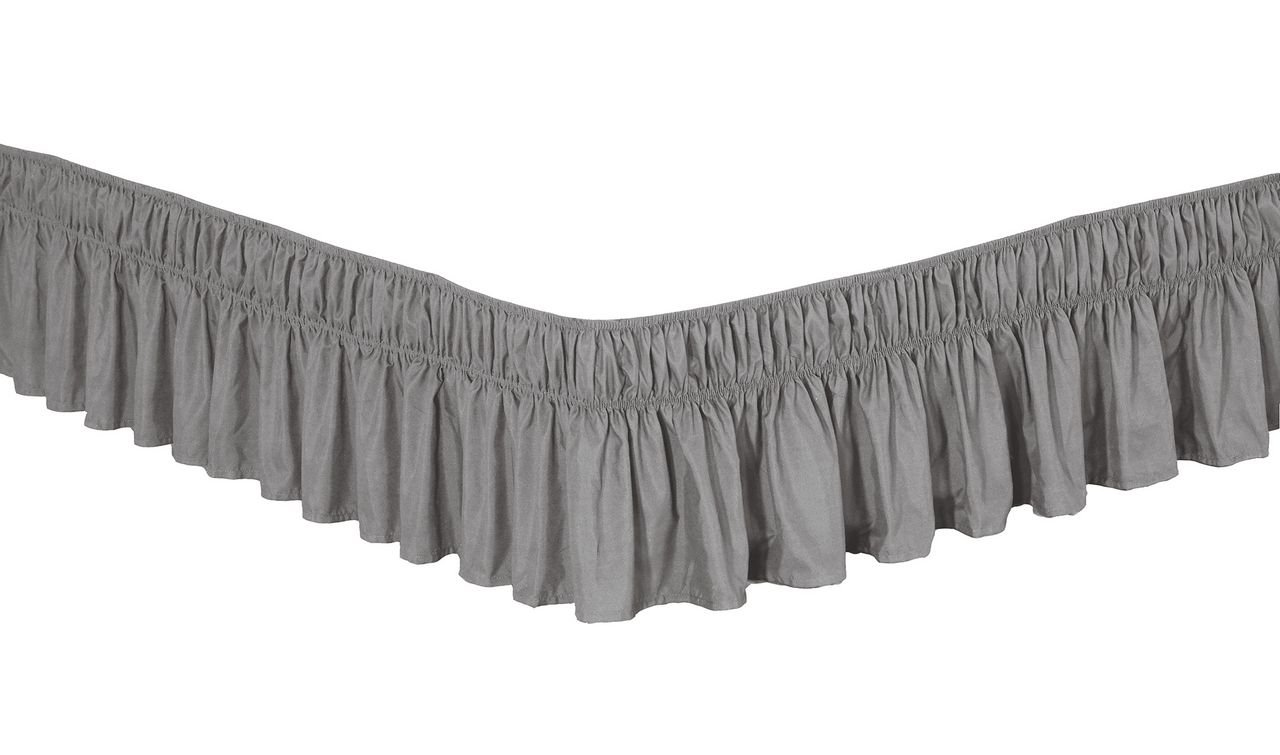 2 Sizes Platform Free 1606BS-GRY-QK Grey Queen//King 100/% Polyester Orient Home Collection De Moocci Luxury Wrap Around Style Elastic Bed Wrap Ruffled Bed Skirt 16inch Drop