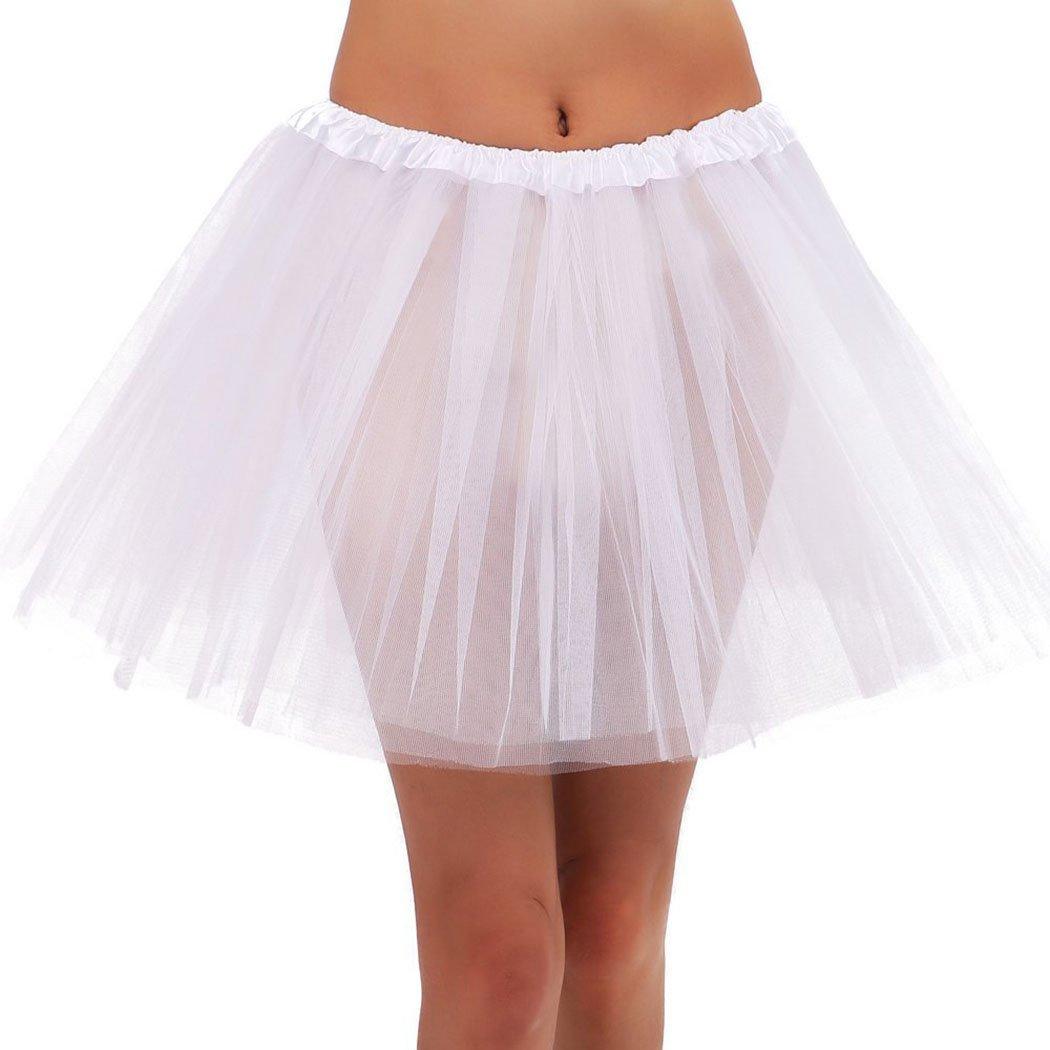b80b9e875c Jasmine Womens Tutu Teen Classic 3 Layered Tulle Dress up Tutu Running Skirt ,White