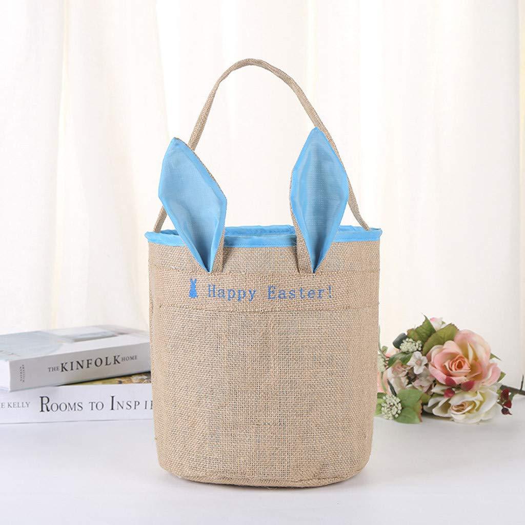 Cute Easter Linen Bunny Bag Easter Egg Basket Gift Tote Bag Eggs Candy Bag (Blue)