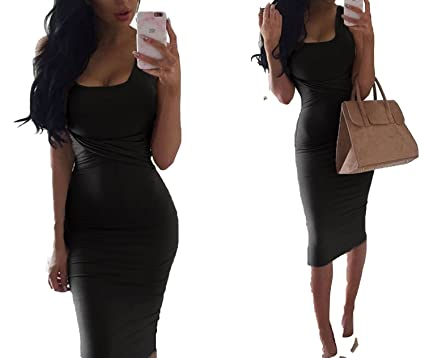Women Tank Elegant Black Criss Cross Cotton Sexy Pencil Tight Bandage Club Midi Dress Vestidos,