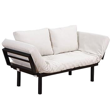 Amazon Com Homcom Convertible 3 Position Futon Daybed Lounger Sofa
