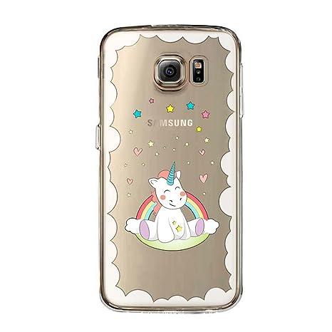 Couverture Coque Cover Tpu Gel Transparent Doux Garde Protecteur Dessin Animé Licorne Arc En Ciel Galaxy S6 Edge