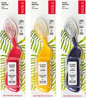 product image for RADIUS Toothbrush Flex Brush, Left Hand - 3 Pack in Assorted Colors, BPA Free and ADA Accepted, Designed to Improve Gum Health and Reduce The Risk of Gum Disease