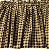 Valance Homespun Black and Tan Country Primitive Theme Curtain Window Treatment Extra Wide