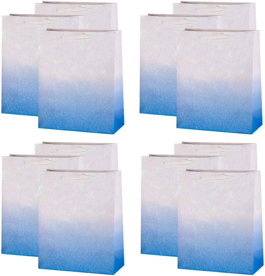 UNIQOOO 12Pcs Blue Glitter Ombre Gift Bags Bulk, 100% Recyclable Gift Wrapping Paper Bags, for Bridal Baby Shower, Wedding Birthday Party Favor Thank You Bag, Easter, Mother's Day, Medium 9x7x4 inch