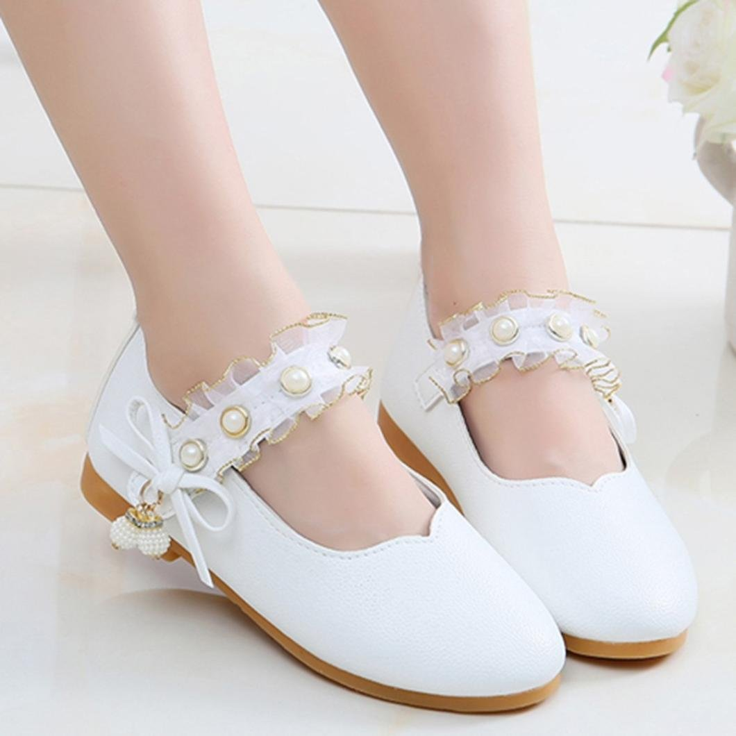 FeiliandaJJ Girls Princess Shoes Kids Toddler Baby Fashion Cute Solid Leather Bowknot Pearl Pendant Casual Sneaker Sandals Single Shoes