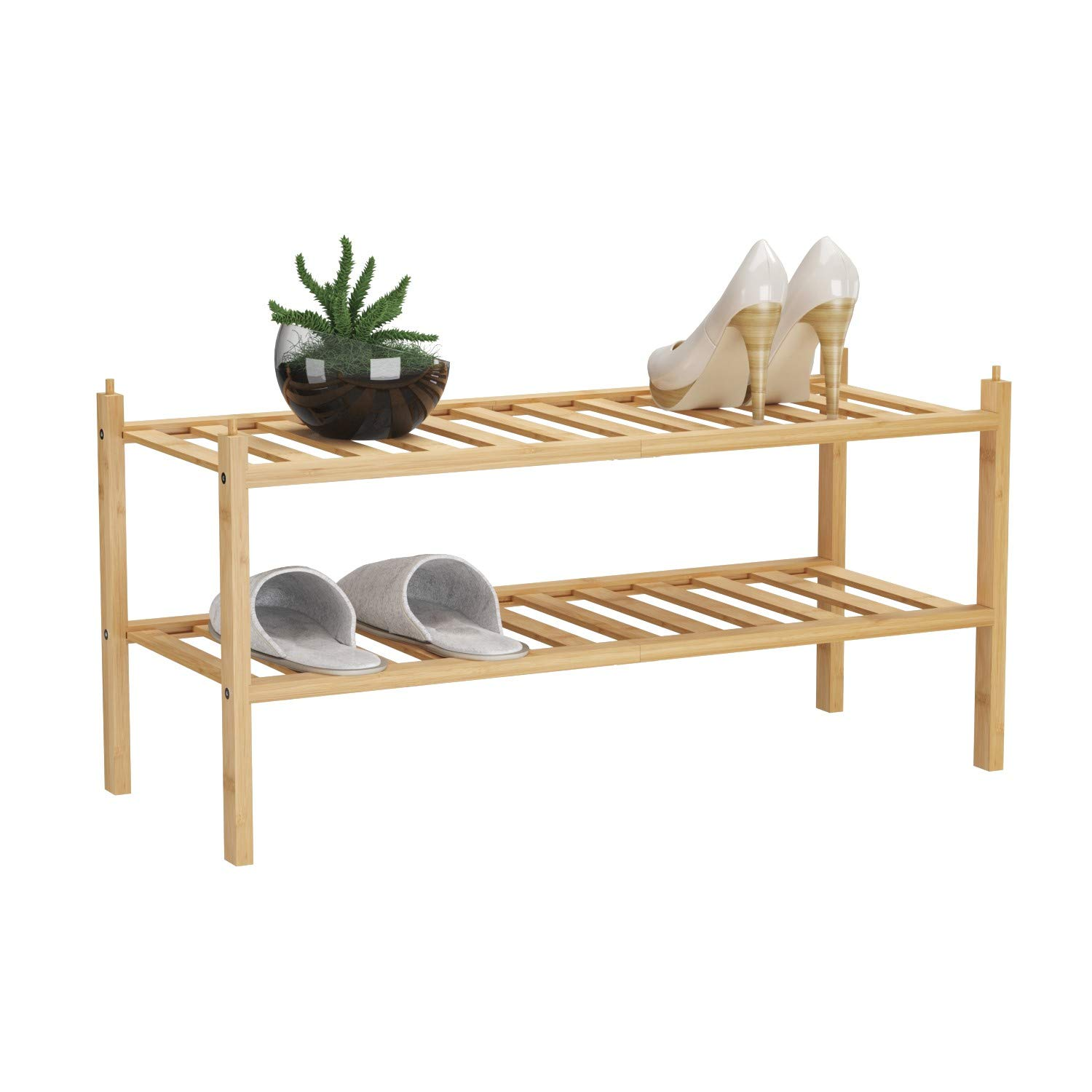 "BAMFOX 2-Tier Shoe Rack,Bamboo Stackable Shoe Storage Organizer Unit Entryway Shelf,27.2""x11""x13.2"" in Natural Color"