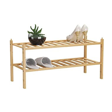 BAMFOX 2-Tier Shoe Rack,Bamboo Stackable Shoe Storage Organizer Unit Entryway Shelf,27.2 x11 x13.2  in Natural Color