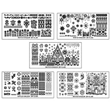 Bundle Monster 5pc Wintertime Nail Art Polish Stamping Plates - Winter Kingdom