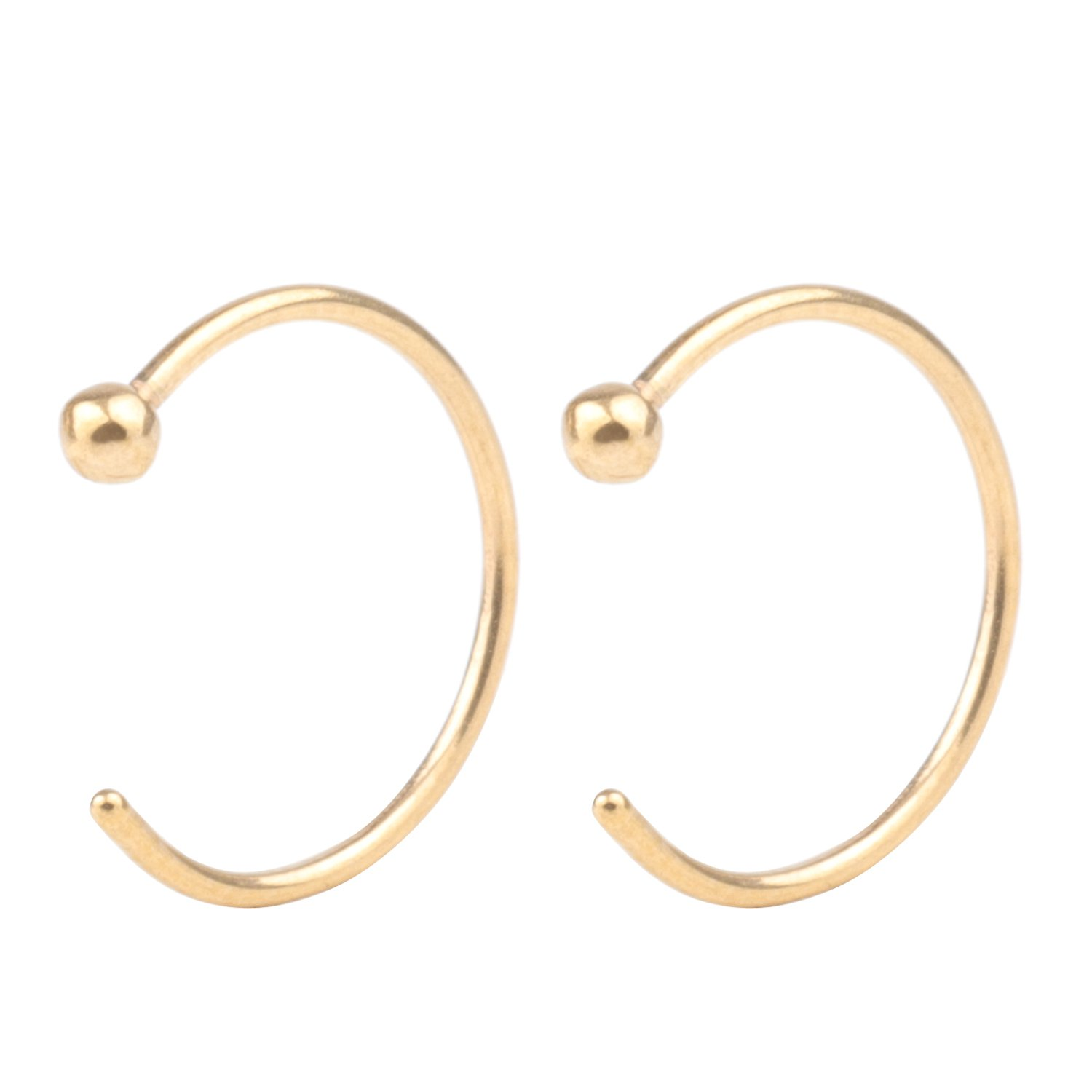 CM's 2 Pcs Gold 20G 10mm Stainless Steel Hoop Nose Ring Studs Body Jewelry Piercing