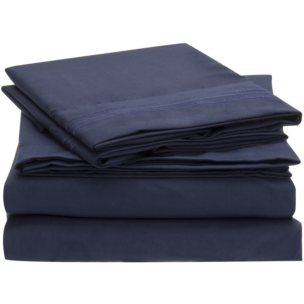 Double Brushed Microfiber Bedding - 4 Piece Queen, Royal Blue