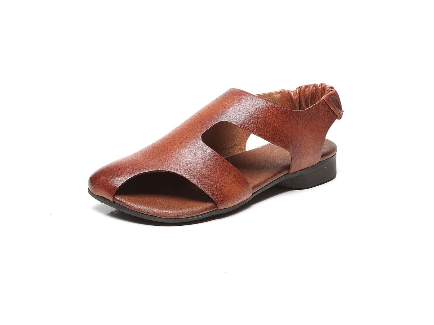 Womens Sandals Summer Retro Soles Shoes Flat Heels Soft Soles Retro Roman Sandals per Outdoor Casual Taglia 35-40 (Nero Marrone) 39 EU Marrone befbbe