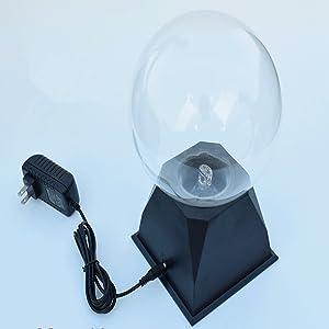 Pelddy Touch Sound Sensitive Glass Plasma Ball Lamp Crystal Three Color Globe Design (6 inches) (Color: Multicolor, Tamaño: 6 Inch)