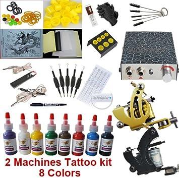 Amazon.com : Basic Tattoo Kit with 2 Tattoo Machine Gun and 8 Color ...