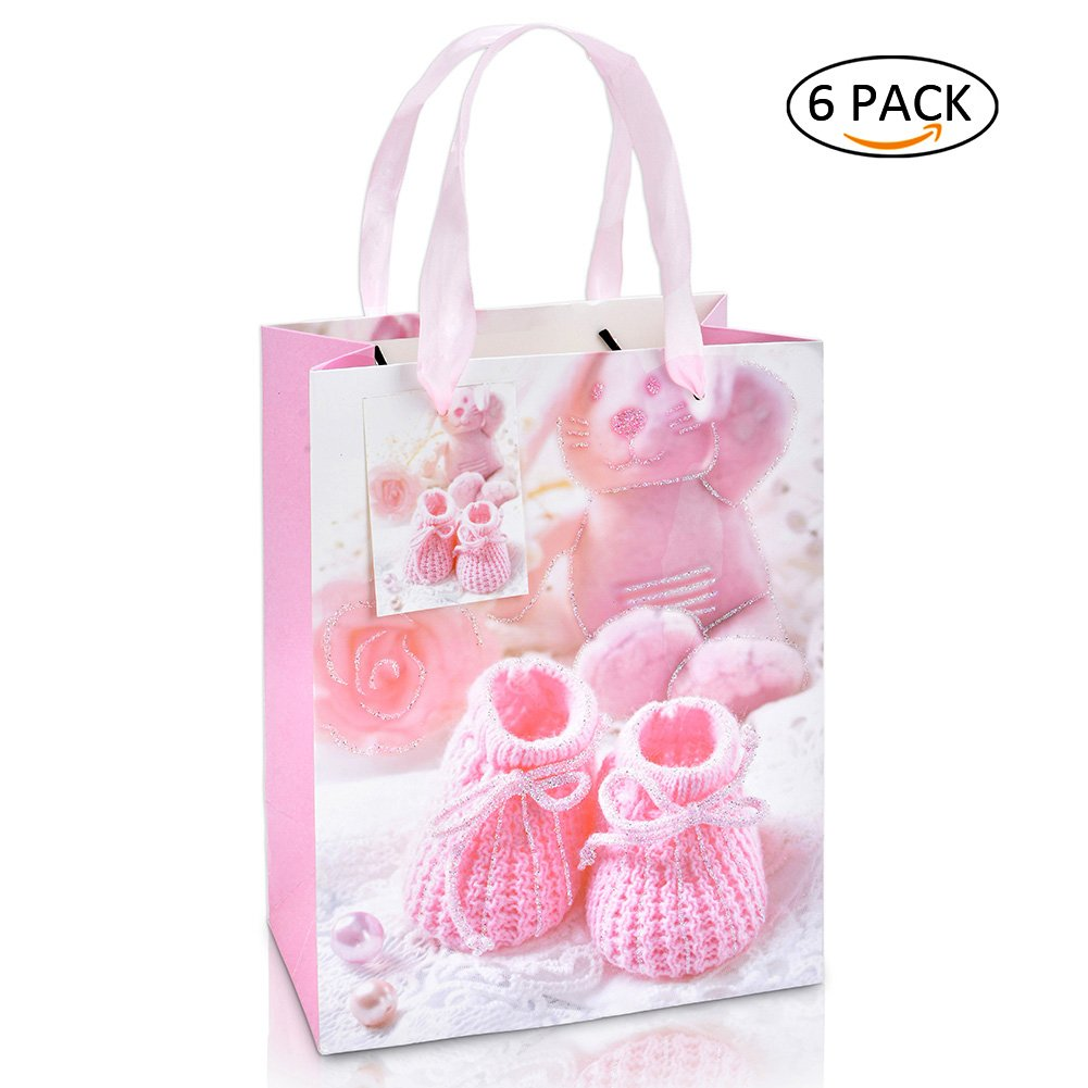 LUCK COLLECTION Bags Baby Girl Gift Bag with Handle for Guests Medium Size 6 Pack