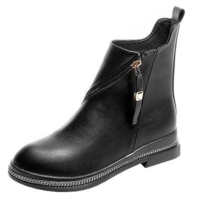 Binying et Boots Femme Bout Rond Plateau Bloc Fermeture Eclair Métal EU 35  Noir a5986f6bee6f