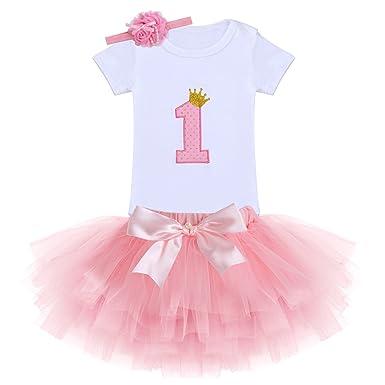 821d471291f7c IWEMEK Nouveau-né Bébé Enfants Bambin Filles 1er / 2ème Anniversaire  Princesse Bowknot Ensemble de