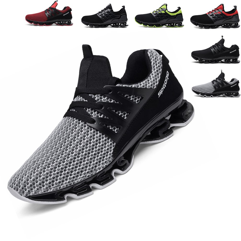 Mens Womens Running Shoes Blade Outdoor Sport Sneakers Mesh Breathable Fashion Shoe-Knit Grey 44 EUR