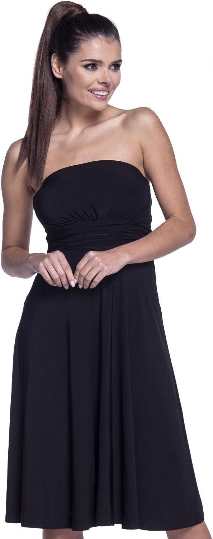 129z Womens Boobtube Silky Dress Flared Bandeau Neck Zeta Ville