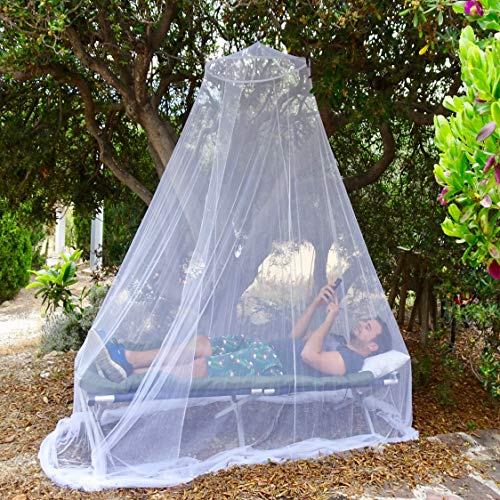 (EVEN NATURALS Luxury Bed Canopy Mosquito Net, Large: for Single to Queen Size, Quick Easy Installation, Finest Holes: Mesh 380, Curtain Netting with Entry, Storage Bag, No Chemicals Added)