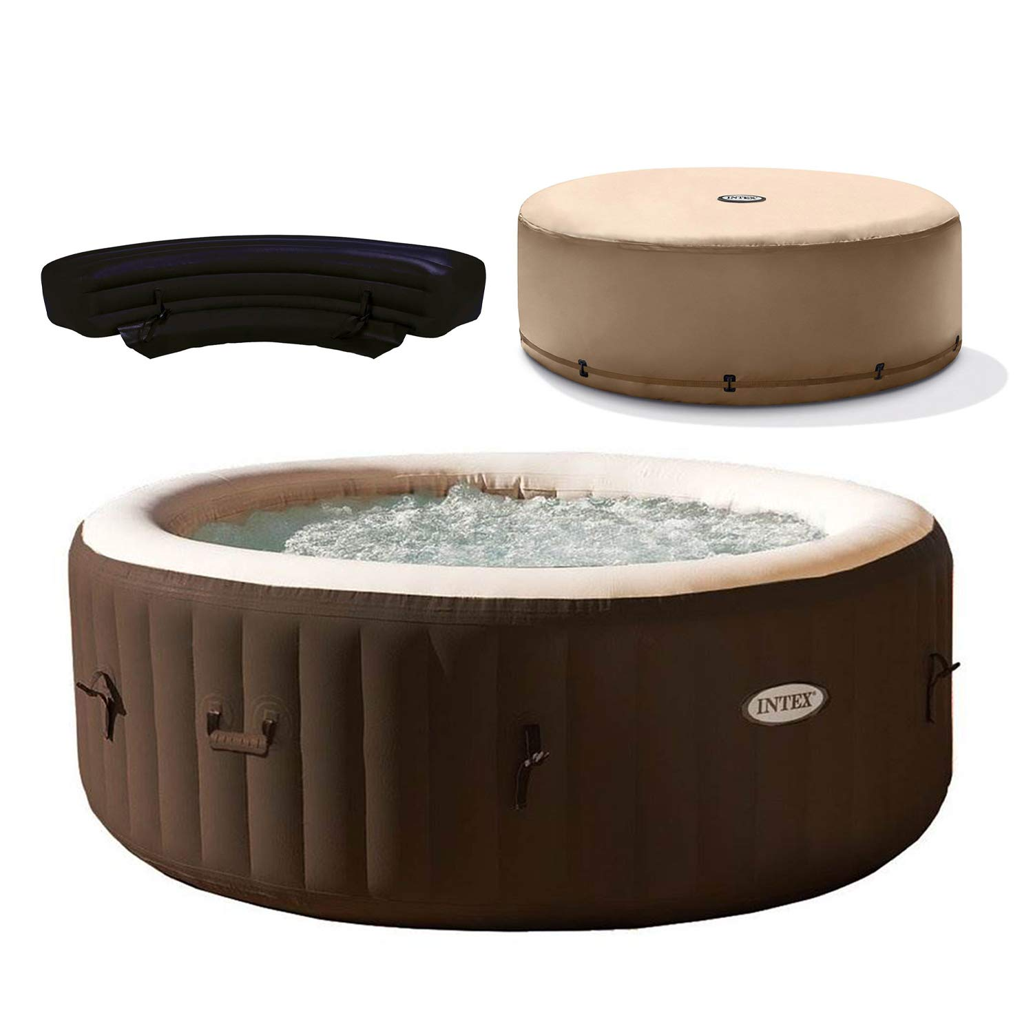 Intex PureSpa Bubble Massage 4 Person Inflatable Hot Tub w/Replacement Cover & Bench Add On