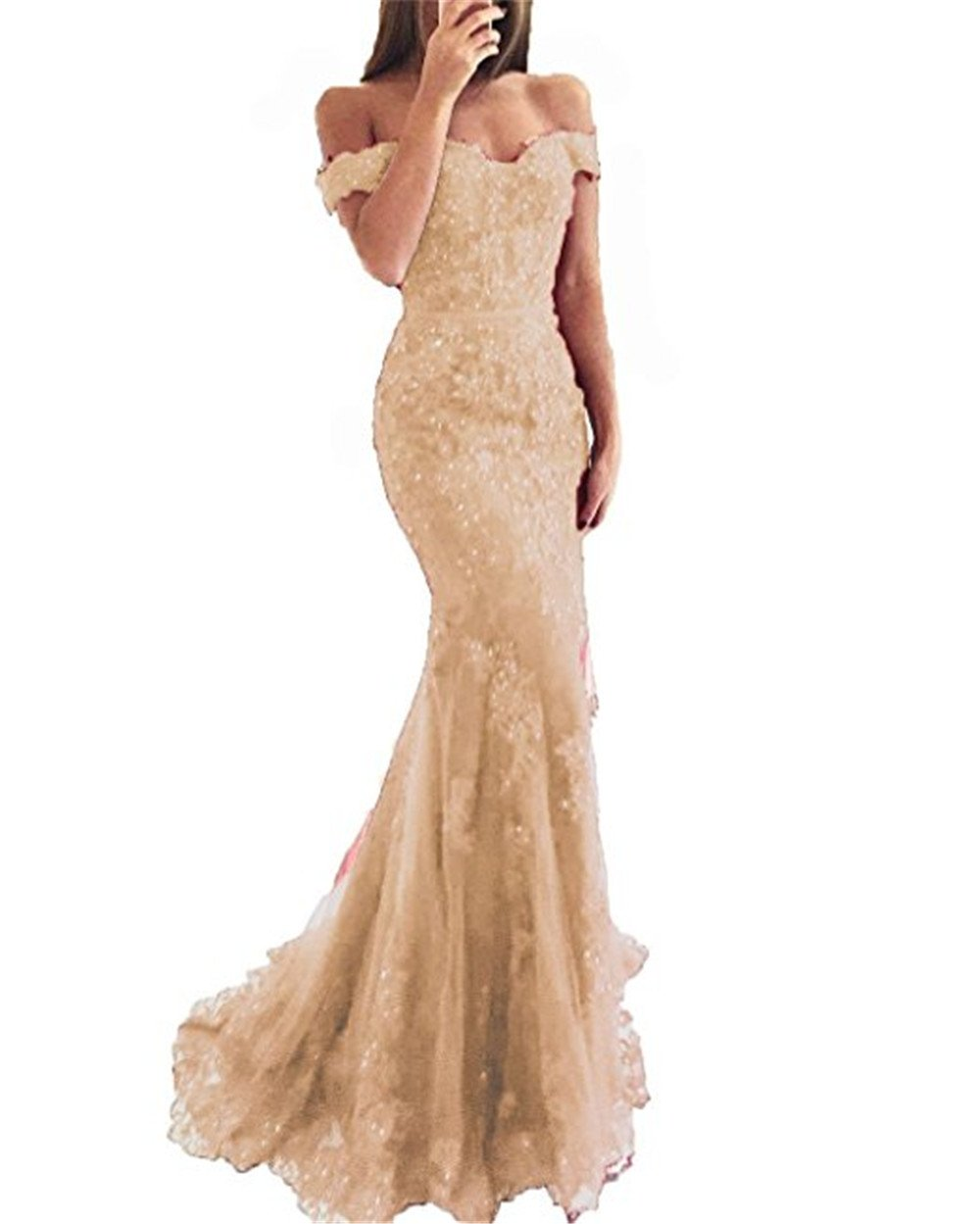 YSMei Lace Mermaid Tulle Prom Dresses Off Shoulder Long Beaded Formal Party Gown Champagne 10