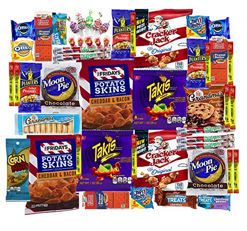 - Cookies Chips & Candies Variety Pack Bundle Assortment Includes: Takis, Moon Pies, Potato Skins, Cracker Jacks and More!