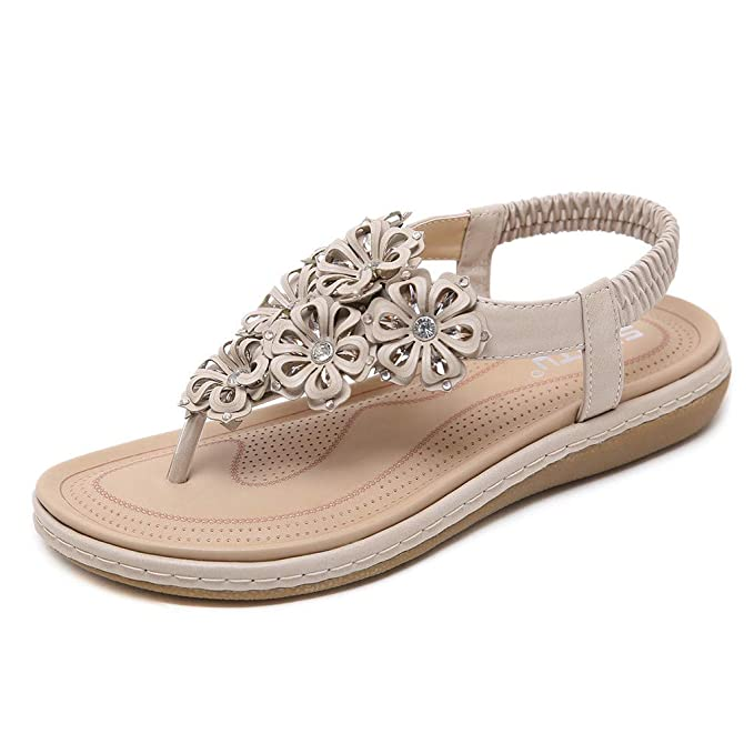 918c84376 Amazon.com  Women Bohemian Sandals Leather Crystal Floral Flat Thong Flip  Flops Sandals Beaded Slip on Boho Sandals Casual Outdoor Beach Shoes for  Women ...