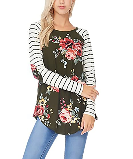 Mujer Camisetas Manga Larga Basicas Rayas Cuello Redondo Elegantes Camisas Tops Flores Estampadas Asimetricas Patchwork T Shirt Blusa Spring Otoño Casual ...