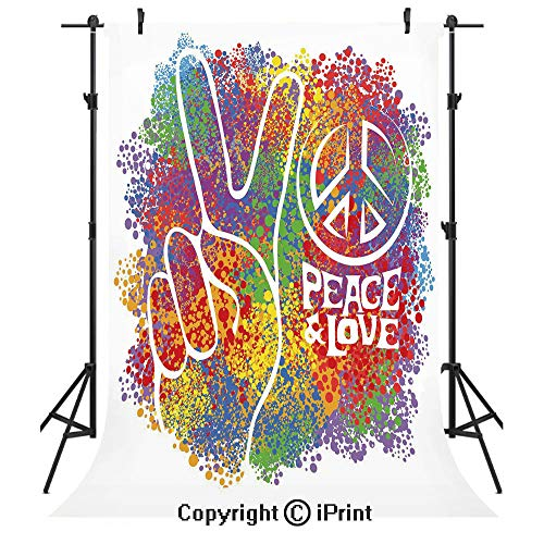 70s Party Decorations Photography Backdrops,Hippie Peace and Love Symbol and Signs Two Fingers Antiwar Colorful Decorative,Birthday Party Seamless Photo Studio Booth Background Banner 5x7ft,Multicolor