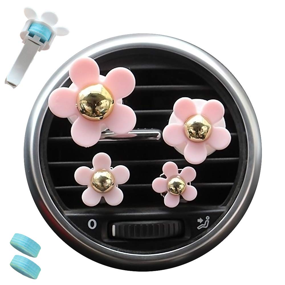 AdongTop 6pcs Car Air Vent Decoration-Car Charm Beautiful Daisy Flowers with Plastic and Two Balm,for Car, Home, Decor, Gift,Kid's(Pink)
