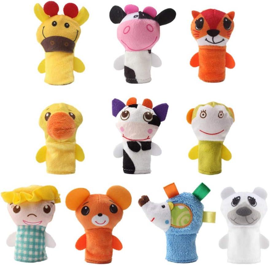TOYANDONA 10Pcs Animales de Peluche Marionetas de Dedo Juguetes Animales Marionetas de Dedo Niños Bebé Niño Juguete Educativo Manos Suaves Marionetas de Dedo Juego para Navidad Familia