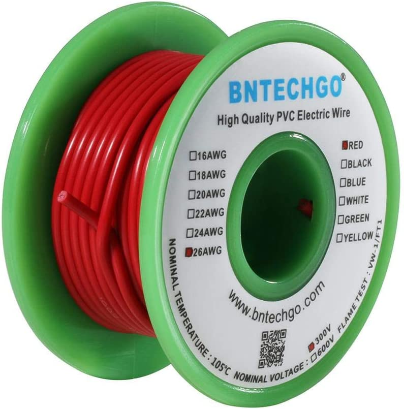 Bntechgo 26/AWG 1007/Fil /électrique en PVC de calibre 26/1007/dor/és Hook Up Fil 300/V Stranded /étam/é Fil de cuivre Rouge 15,2/m par bobine pour DIY