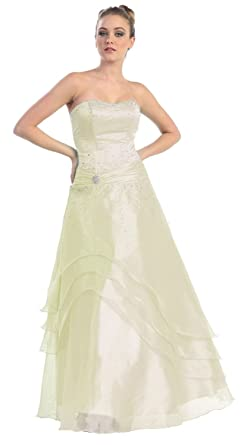 Ball Gown Strapless Formal Prom Dress #581 (4, Ivory)